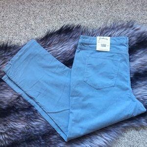 Lands End Cropped Blue Corduroy Pants NWT
